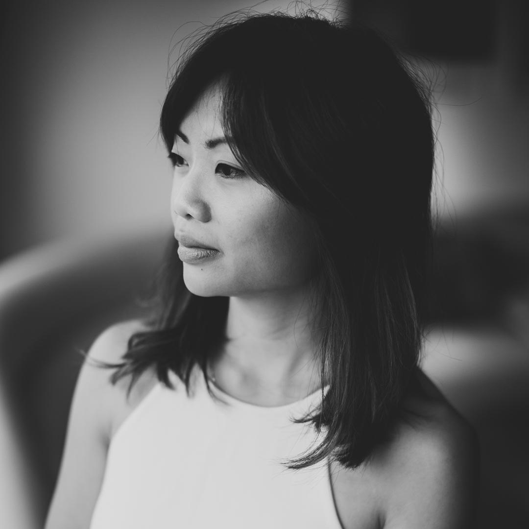 Monochrome portrait of Jing-Jing Lee.