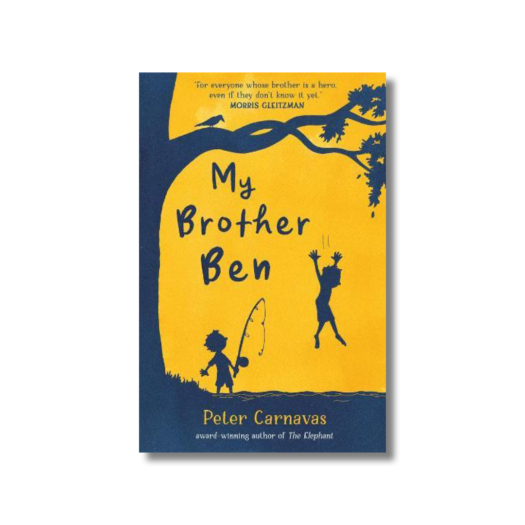 Front cover of Peter Carnavas's book My Brother Ben. There is a silhouette of a tree and two children playing. The background is yellow.