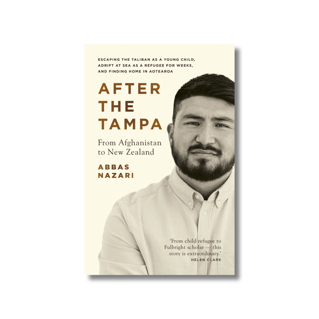 Front cover of Abbas Nazari's 'After the Tampa'. In the foreground is a close-up photograph of Abbas Nazari. Nazari has cropped dark brown hair and a trimmed beard. The author wears a white collared shirt.