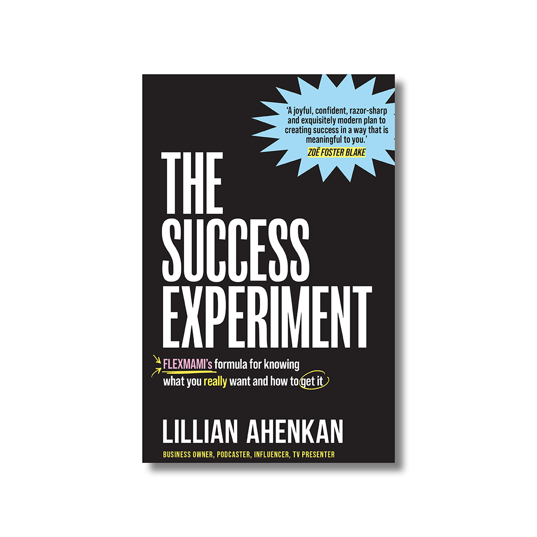 Front cover of Lillian Ahenkan's 'The Success Experiment'. The title is in white and capitalised sans serif font. The background is black.
