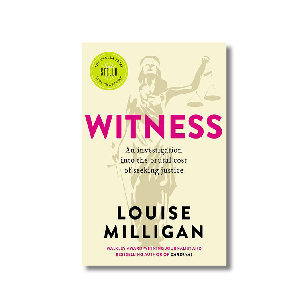 Front cover of Louise Milligan's 'Witness' on a white background. In the foreground is a illustration of Lady Justice. The illustration is mostly light yellow.